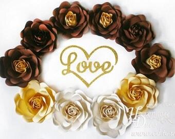 Set paper flowers + lettering inscription-brown paper rose&gold Love-Paper Flowers Wall Decor-3D paper rose-Paper Flower Backdrop Wedding