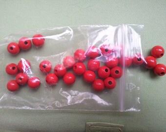 30 Red 10mm round beads