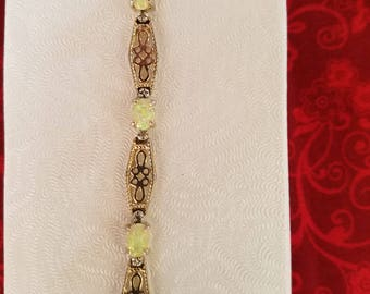 BR106 Vintage Sterling Silver Link Bracelet with Opals and Small Diamonds