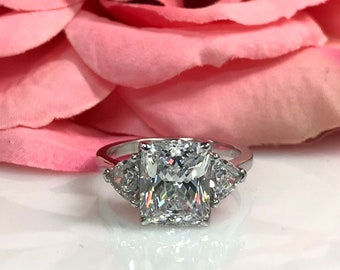 Moissanite Radiant Cut With Trillion Accents Engagement  Wedding Anniversary Ring 14K White Gold #5477