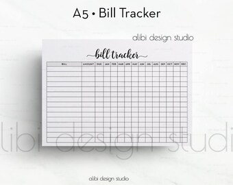 Bill Tracker, A5 Planner Insert, Planner Printable, Bill Insert, Finance Planner, A5 Insert, Bills Calendar, Monthly Tracker, Bill Organizer