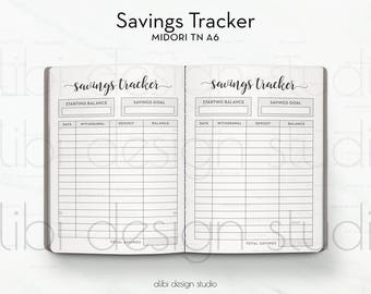 A6 TN, Savings Tracker, Travelers Notebook, Budget Insert, Midori Inserts, TN Inserts, Midori, Midori A6, Savings Insert, Financial Insert