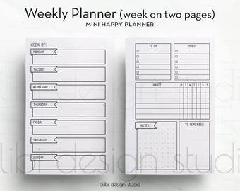 Weekly Planner, MINI Happy Planner, Weekly Schedule, Meal Planner, To Do List, Habit Tracker, Daily Planner, Mini MAMBI, Printable Planner