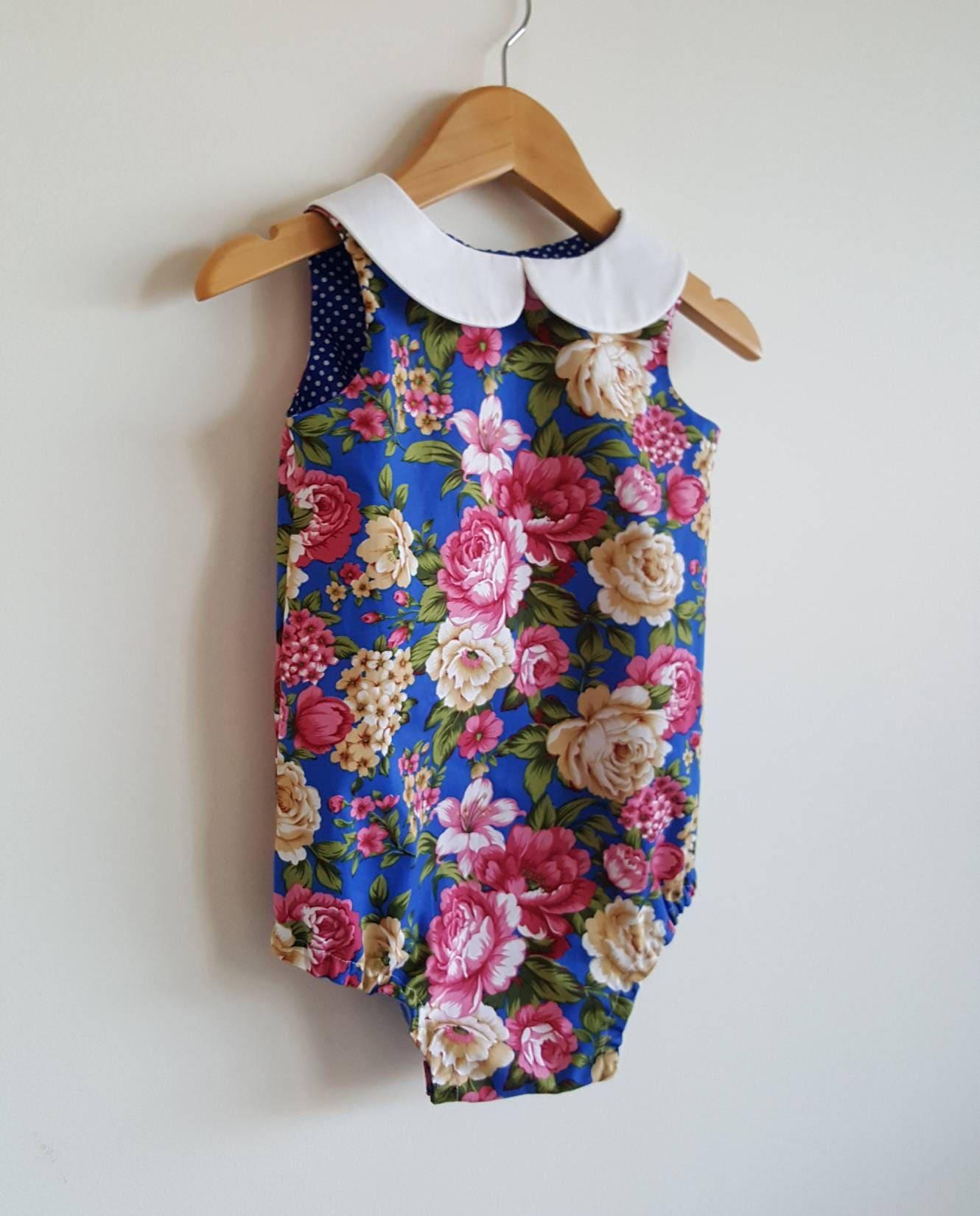 Baby girls playsuit peter pan collar romper blue pink
