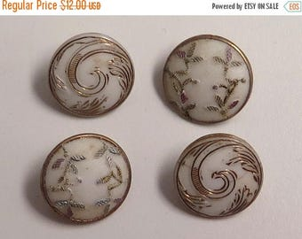 50% OFF - Grp of 4 Small Victorian Glass Buttons, Two Patterns, 1800s