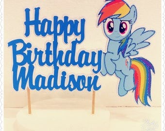 My Little Pony--Inexpensive Personalized Cake Toppers with Name & Character--Kid's Birthday Party Decorations