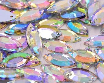 AB Clear Sew on Acrylic Tear Drop Diamante Crystal Gems Rhinestone 7x15mm