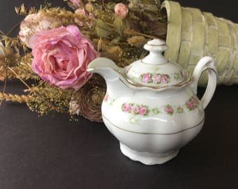 Creamer, Made in Germany, Stamped with 10, replacement lid, Rose pattern , Vintage Creamer, trimmed in gold