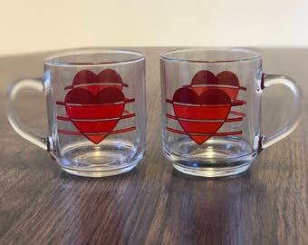 Vintage Pair of 1980s Clear Glass Mugs with Striped Red Heart Graphics | One Set of Two Mugs | 8oz