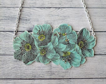 Shrink Plastic Necklace Flowers Necklace Floral Necklace Cluster Necklace Statement Necklace Spring Necklace Jewelry Pendant