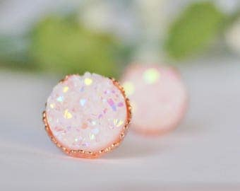 READY TO SHIP / Princess Druzy Earrings / Hypoallergenic Earrings / Nickel Free Earrings / Lead Free Earrings / Rose Gold Earrings