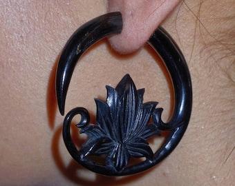 ON SALE Black Horn Lotus Curls Fake Gauges Earrings - Free Shipping