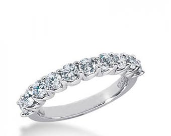 ON SALE 1.00ct Ladies U-Prong 14k White Gold Diamond Wedding Band