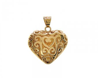 18k Yellow Gold Floral Engraved Etched Puffed Heart Romantic Love Charm