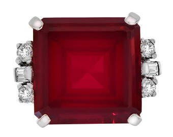 15.00 Carat Synthetic Emerald Cut Ruby With CZ Ring 14K White Gold