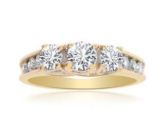 0.90 Carat Round Cut Diamond Engagement Ring 14K Yellow Gold