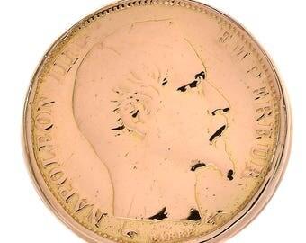 Emperor Napoleon III Coin Vintage Men's Signet Ring 18K Yellow Gold