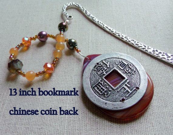 Orange gemstone bookmark -  page marker - Chinese new year gift - book club - coin bookmark - clock face - Shepherds hook - moss green agate
