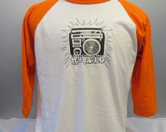 Vintage Graphic T-shirt - 3/4 Length Sleeve - Ghetto Blaster Graphic - Men's Large