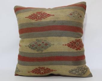 24x24 Striped Kilim Pillow Naturel Kilim Pillow 24x24 Handwoven Patterned Kilim Pillow Chic Pillow Bed Pillow Cushion Cover  SP6060-1330