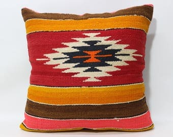 24x24 Turkish Kilim Pillow Geometric Design Kilim Pillow 24x24 Large Size Kilim Pillow Handwoven Kilim Pillow Cushion Cover SP6060-1258