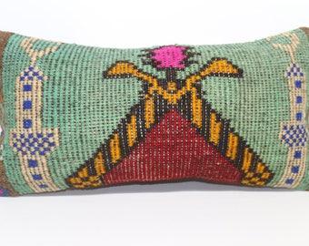 Bohemian Kilim Pillow Decorative Kilim Pillow Throw Pillow 12x24 Lumbar Kilim Pillow Home Decor Handwoven Kilim Pillow  SP3060-1233