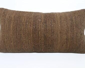Brown Kilim Pillow Flat Woven Kilim Pillow Handwoven Pillow 12x24 Lumbar Kilim Pillow Ethnic Pillow Cushion Cover SP3060-1235
