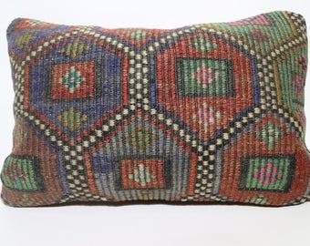 Multicolor Kilim Pillow Lumbar Pillow Embroidered Kilim Pillow Turkish Kilim Pillow Sofa Pillow 16x24 Throw Pillow Cushion Cover SP4060-830