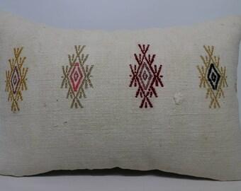 16x24 Handwoven Kilim Pillow Sofa Pillow Home Decor 16x24 Turkish White Kilim Pillow Ethnic Pillow Cushion Cover SP4060-1032