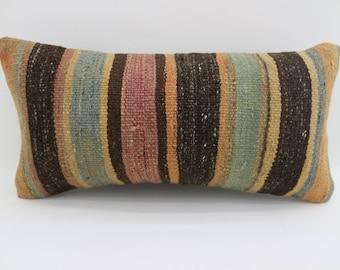 10x20 kilim pillow bed pillows 25x50 cm kilim pillow decorative pillow 10x20 small lumbar faded pillow muted pillow black pillow SP2550-1521