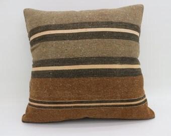 Striped Pillow Multicolor Kilim Pillow Gray Pillow 20x20 Large Turkish Kilim Pillow Bohemian Cushion Cover Pillow Black Pillow SP5050-2720