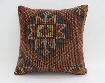 Embroidered Kilim Pillow 20x20 Anatolian Kilim Pillow  Sofa Pillow 50x50 cm Turkish Kilim Pillow Ethnic Pillow Cushion Cover SP5050-2768