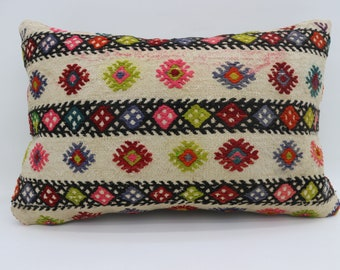 16x24 Pillow Cover Embroidery Kİlim Pillow Striped Pillow 16x24 Floral Kilim Pillow Multicolor Pillow Throw Pillow Cushion Cover SP4060-1289