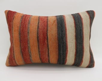 16x24 Kilim Pillow Striped Kilim Pillow Multicolor Kilim Pillows 16x24 Pillow Boho Pillow Throw Pillow Orange and White Pillow SP4060-1381