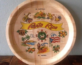 Retro Puerto Rico Bamboo Serving Drink Snack Tray Beverage Perfume Centerpiece Kitschy art painted souvenir party midcentury mid century