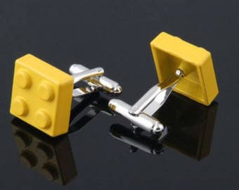 Yellow Lego Block Cufflink -B41 Free Gift Box**