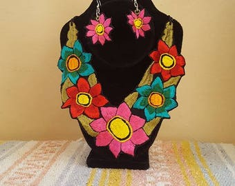 Necklace + Earrings/Earrings and woven necklace/Mexican Jewelry/