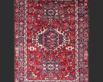 Persian Rug Heriz antique fine 5.1 x 3.8 ft ft / 151 x 115 cm vintage Bohemian Rug, Boho Style, carpet Karaja  5 x 4 ft