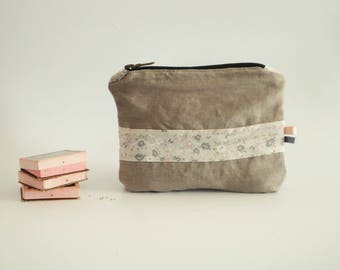 Gray clutch with flowers