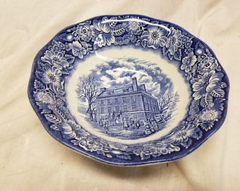 """Staffordshire Liberty blue  8 1/2"""" round serving bowl"""