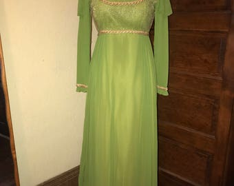 Green princess Fiona absinthe fairy gown 70's