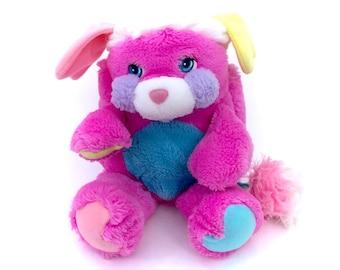 "Vintage Pink Prize Popple Plush Purple 14"" Plushie Purple Stuffed Animal Retro 80s 1980s American Greeting Puffball Kawaii Kiddie Kidcore"