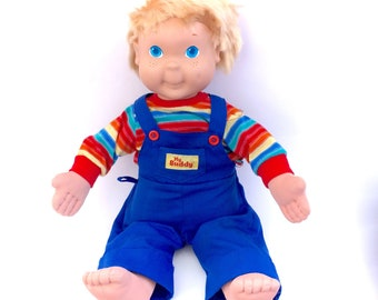 Vintage My Buddy Doll 1986 Playskool Near Complete Outfit Blue Coveralls Overalls Cloth Boy Baby Dolly 80s Rainbow Chucky Doll Blue Eyes