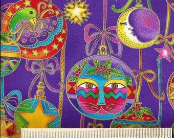 Laurel Burch _ Christmas Cats & Tree Decorations on Purple from Bountiful Blessings -    100% Cotton - Quilt Shop Quality Fabric