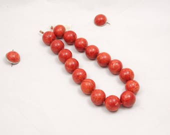 VERY large vintage red sponge coral set of necklace and earrings 317 gr 26 mm