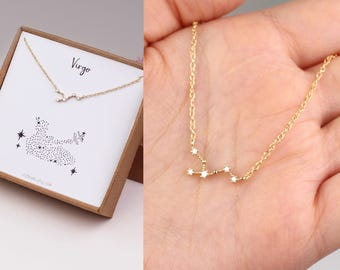constellation necklace, horoscope necklace, virgo jewelry, Virgo necklace, best friend gift, horoscope jewelry, sister birthday gift, gold