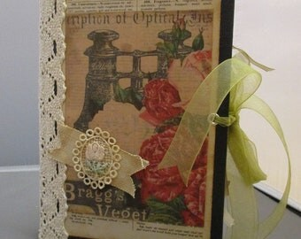 Roses and More altered book, handmade journal, tea-dyed papers