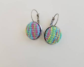 Wrap Scrap Jewelry - Earrings - Pretty Paisley - Rainboom - Wrap Scrap - Babywearing - Stainless Steel - Rainbow - Handwoven