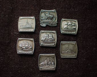 Set of 7 pin, soviet pin, soviet badges, metal badges, russian soviet warships, sailing ship, USSR navy, cruiser Aurora