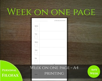 Week on one page - Classic style -  Personal filofax size